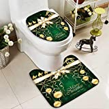 Non-slip Bath Toilet Mat Green Christmas background with golden baubles and Christian scene with three wise men in Bathroom Accessories