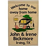 Welcome to our Home Away From Home Personalized 5th Wheel Campsite Flag, Customize Your Way (Black/Gray Trim)