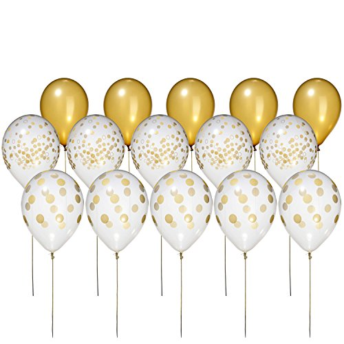 Metallic Gold Faux Confetti Like Balloons Economy Set by Bruno Life 15 Count 11 inch Premium Polka Dot, Solid Party Balloons for Decoration, Wedding, Shower, Made in The USA -