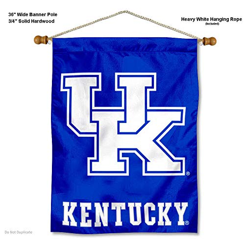 College Flags and Banners Co. Kentucky Wildcats UK Banner with Hanging Pole ()