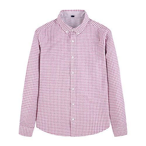 XIEPEI Men's Autumn Business Casual Hair Small Plaid Long-Sleeved Shirt Men's Shirt Red Grid