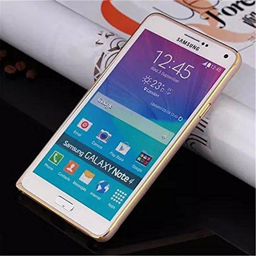 Galaxy Note 4 Case, Dteck(TM) Luxury Light Bicolor Gilt-edged Design Premium Aluminum Metal Frame Bumper Case [Shock-Absorption & Scratch Resistant] for Samsung Galaxy Note 4 N9100 (1 Gold+Gold)