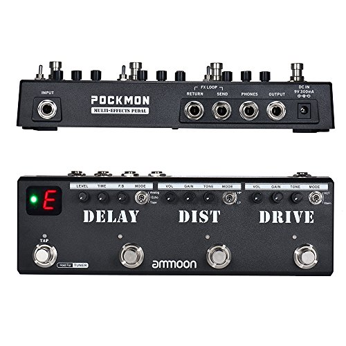 Guitar Effect Pedal, ammoon POCKMON Multi-Effects Pedal Strip with Tuner Delay Distortion Overdrive FX Loop Tap Tempo