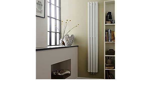 Hudson Reed Alpha-C - Radiador de baño diseño vertical doble acero blanco - 1800 mm x 236 mm - 1201 W - Radiador Decorativo de lujo - 8 Columnas ovalado ...