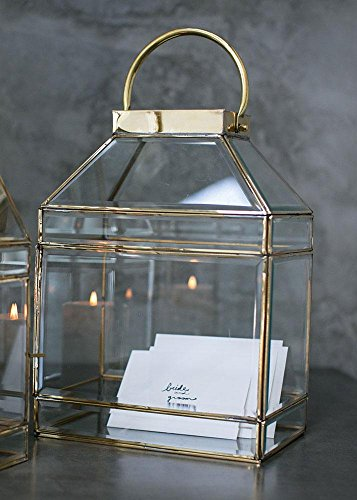 Afloral Decorative Glass Candle Lantern in Gold - 14.25