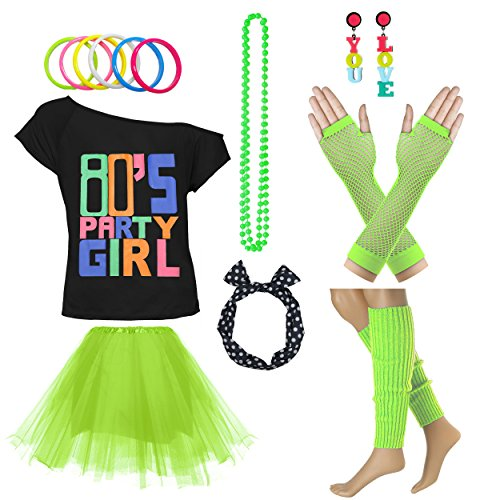 80's Party Girl Retro Costume Accessories Outfit Dress for 1980s Theme Party Supplies (M/L, Green)