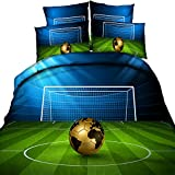 3D Soccer Stadium and Field Printed Blue and Green Duvet Cover Set 4 Pieces Cotton Super Soft Cool Sports Bedding Set, Queen Size Gold Football Bedding (Without Comforter)