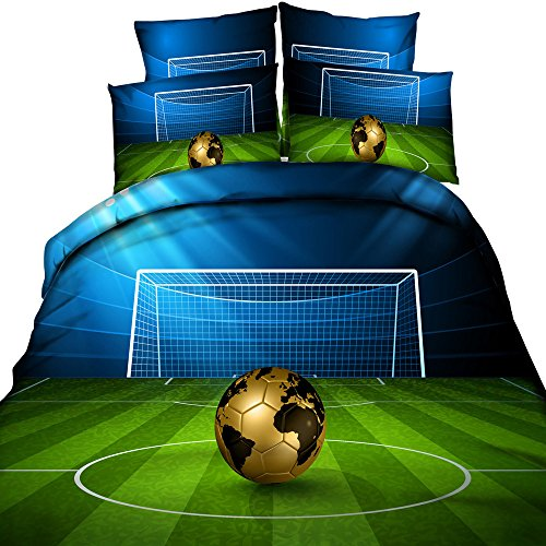 3D Soccer Stadium and Field Printed Blue and Green Duvet Cover Set 4 Pieces Cotton Super Soft Cool Sports Bedding Set, Queen Size Gold Football Bedding (Without Comforter) by HyUkoa