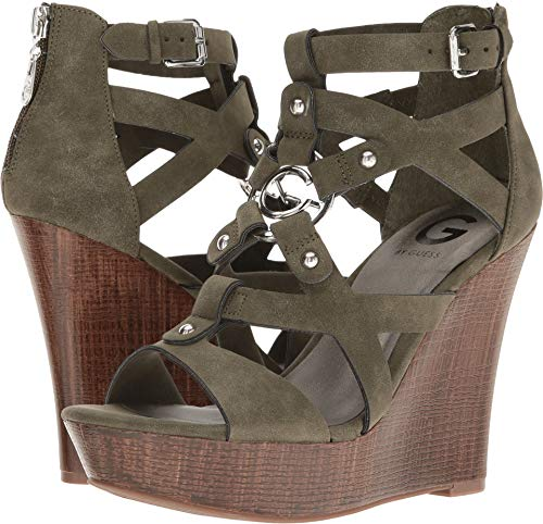 G by GUESS Womens Dodge Open Toe Casual Platform Sandals, Olive, Size 8.0 ()