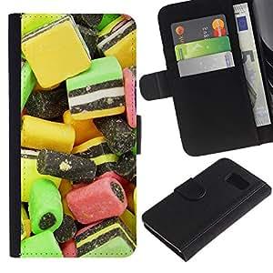 KingStore / Leather Etui en cuir / Samsung Galaxy S6 / Dise?o Caramelo Macro