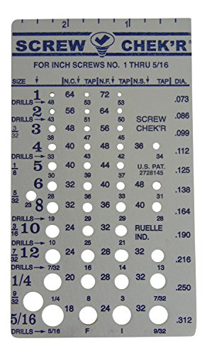Screw Chek'r SAE/ Inch Screw Thread Size Gauge (No. 1 to 5/16) 1/8 Inch Heavy Gauge Steel Screw Checker, Made in USA