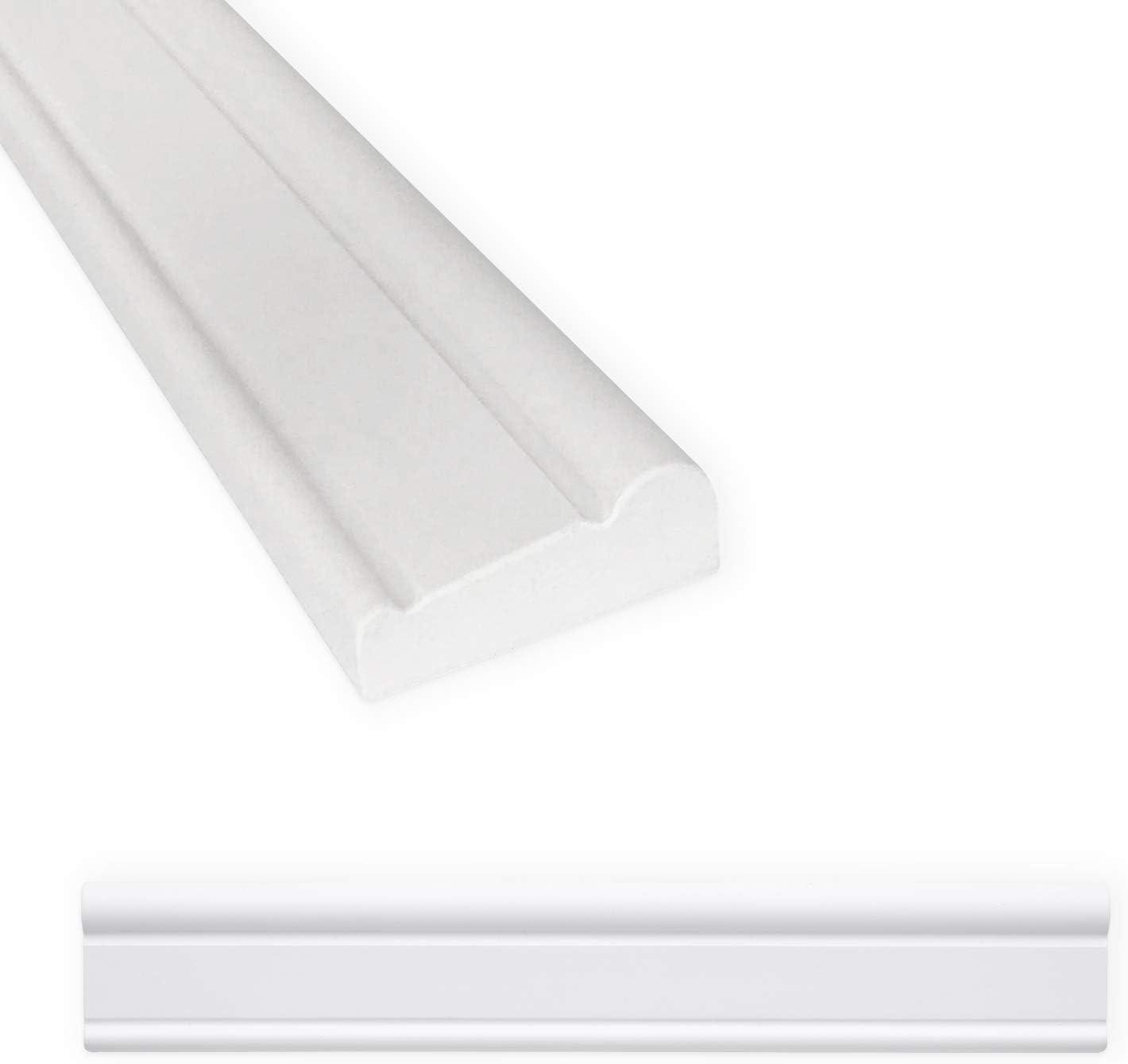 Chair Rail Tile Trim 2 X 12 Inch Decorative Shower Ceramic Tile Edge Liner Backsplash Wall Molding Matte Bright White 6 Pack