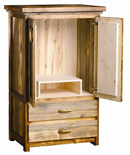 2 Drawer Rustic Wood Armoire w TV Stand (Contoured Aspen)