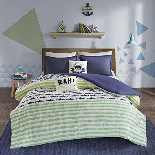 Bamboo Shark - Urban Habitat Kids Finn Full/Queen Duvet Cover Set Kids Boy - Green, Navy , Shark Stripe - 5 Piece Bed Set Cover - 100% Cotton Kid Boys Bedding Set