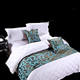 yazi Luxury Bedding Runner Cotton Decorative Bed End Scarf for Bedroom Hotel Wedding Room Acacia Leaf 19x70 Inch