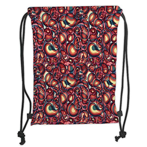 New Fashion Gym Drawstring Backpacks Bags,Paisley,Modern Paisley Pattern with Ethnic Sprit in a Funky Inspired Graphic Design Print,Multi Soft Satin,Adjustable String Closure,The]()