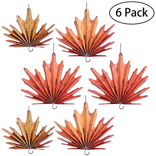 Tinksky Autumn Leaves Hanging Fans Decoration for Thanksgiving Party 6 pack (Thanksgiving Decorations Tree)