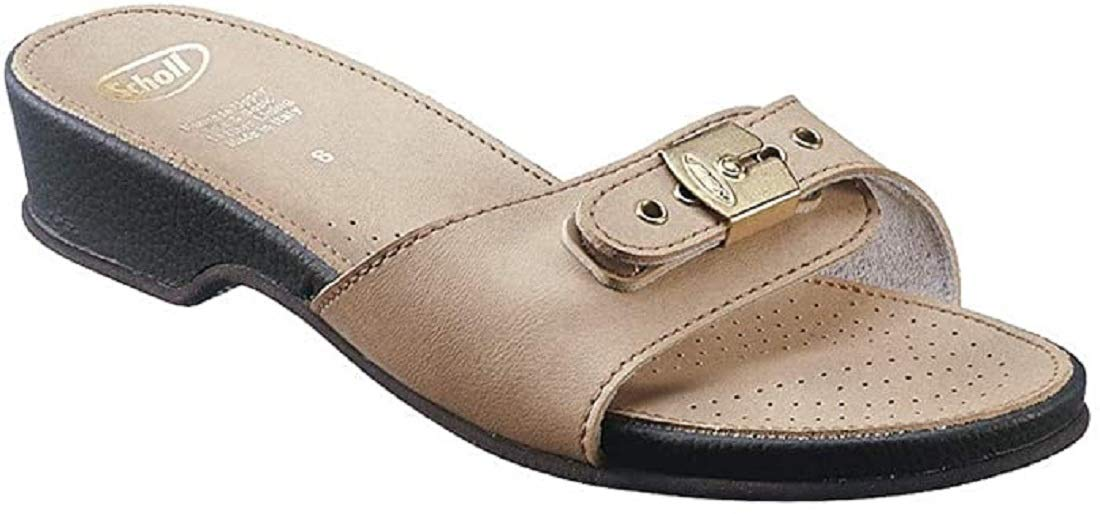 Scholl Leather Look Sandals Low - Stone (38)