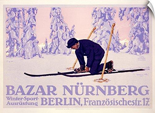 Canvas on Demand Wall Peel Wall Art Print entitled Bazar Nurnberg,Vintage Poster, by Carl Kunst 30