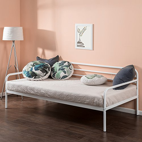 Zinus Parag Trestle Twin Daybed Frame, Steel Slat Support (With Trundle Wicker Daybed)