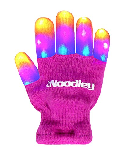 Figure Skating Costumes For Halloween (The Noodley Flashing LED Light Gloves - Pink Girls Flash Gift)