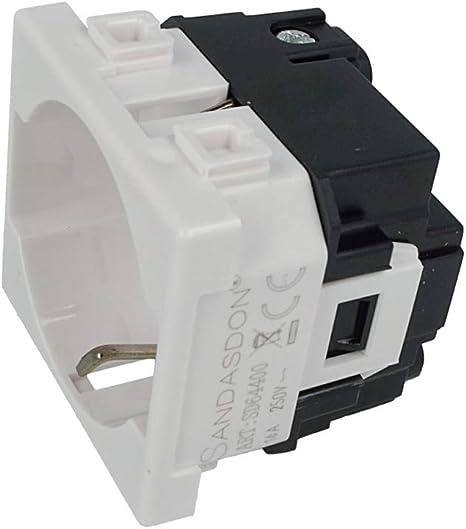 Sandasdon SD64400 Toma Schuko 2P+T 16 A blanco compatible Bticino Matix