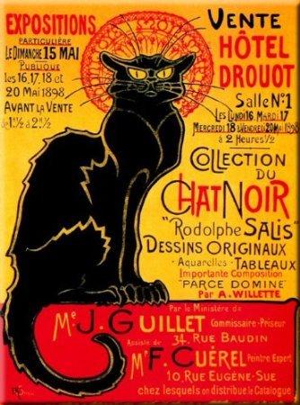 M850 Collection Tournee du Chat Noir PLAQUE METAL 20X15cm AFFICHE CHAT NOIR VENTE DROUOT