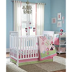 Disney Minnie 4 Piece Crib Bedding Set, Butterfly Charm