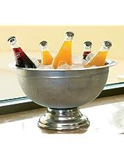 KINDWER Hammered Aluminum Pedestal Punch Bowl, 15-Inch, Silver