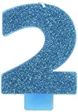 number 2 blue candle - Amscan 2 Birthday Glitter 3.25