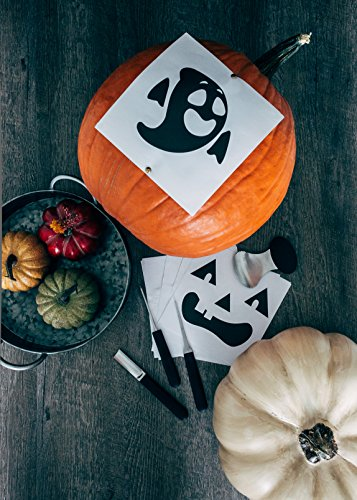 Pumpkin Carving Kit – 4-Piece Reusable Stainless Steel Tools Set with 10 Halloween Carving Pattern Stencils