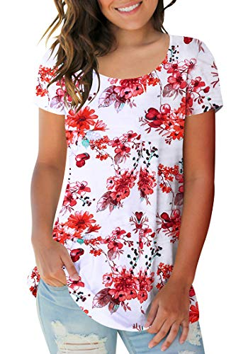 - Sousuoty Plus Size Tunics for Women Flower Tops Summer Floral T Shirt Daisy XL