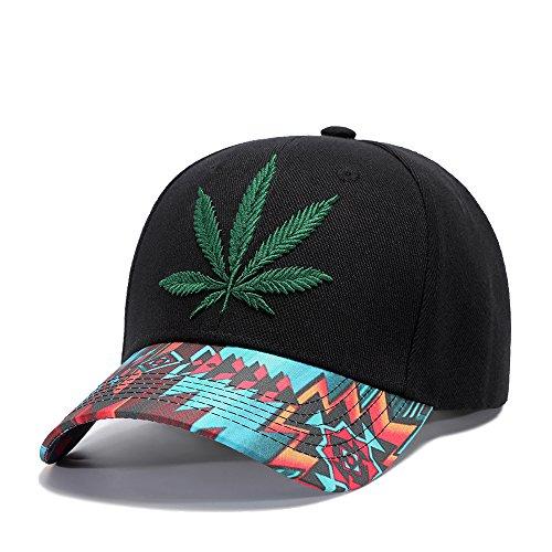 Hemp Wool Hat - Sunlitro Hemp Leaf Embroidery Hip Hop Hat Classic Cotton Baseball Cap Snapback (K408)