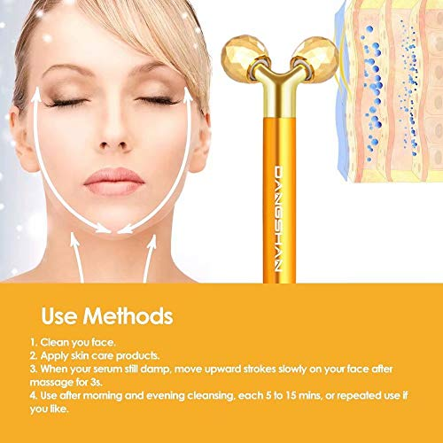 2-IN-1 Face Massager Roller Golden 3D Roller Electric Sonic Energy Face Roller and T Shape Face Massager Kit for Face Lift Beauty Bar Skin Care Tools Gift Set for Women
