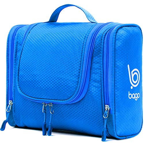 Bago Hanging Toiletry Bag For Women & Men - Travel Bags for Toiletries/Leak Proof/Hanging Hook/Inner Organization to Keep Items From Moving - Pack Like a PRO (Blue)