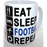 Eat Sleep Football Repeat Novelty Ceramic Coffee Tea Mug by S.Pottery