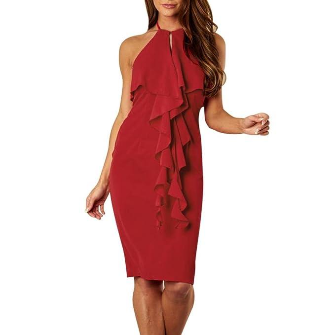 c1136d00a38676 Kleid Damen Kolylong® Frauen Elegant V-Ausschnitt Ärmelloses Kleid Festlich  Rückenfreies Neckholderkleid Slim Business