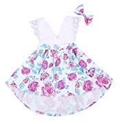Emmababy 2pcs Kids Toddler Baby Little Girls Sisters Ruffle Floral Jumpsuit Romper Dress Lace Outfits Set with Headband (12~18Months, White)