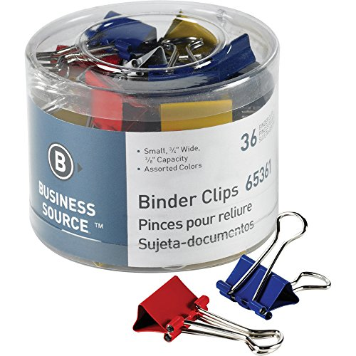 Business Source Small Binder Clips- Pack of 36 - Assorted Colors (65361)