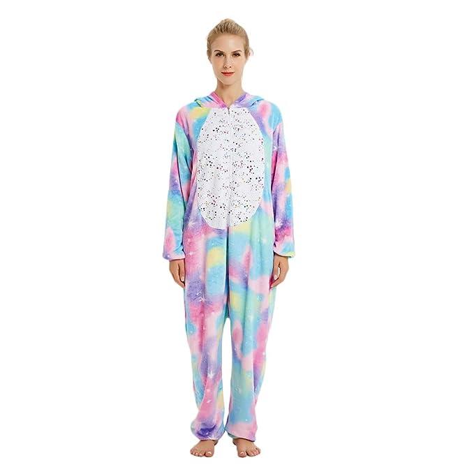 Rainbow Unicorn Unisex Adultos Pijamas Animal Franela Fiesta Cosplay Disfraces Disfraces de Halloween Carnaval Novedad Monos
