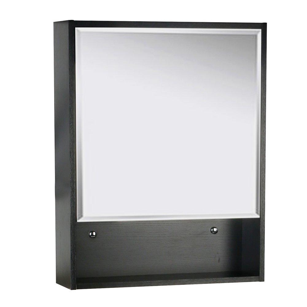 U-Eway 22 x28 Bathroom Medicine Cabinet Organizer with Mirror 3-Height Adjustable Shelf Wall Mounted Surface Black Bathroom Storage