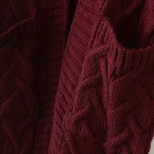 Cappotto Casual Maniche Giacca Tasche Women Comodo Giovane Con Winered Relaxed A Lunghe Donna Maglia Eleganti Outerwear Fashion Autunno Invernali Pullover Monocromo rrw70Sfq