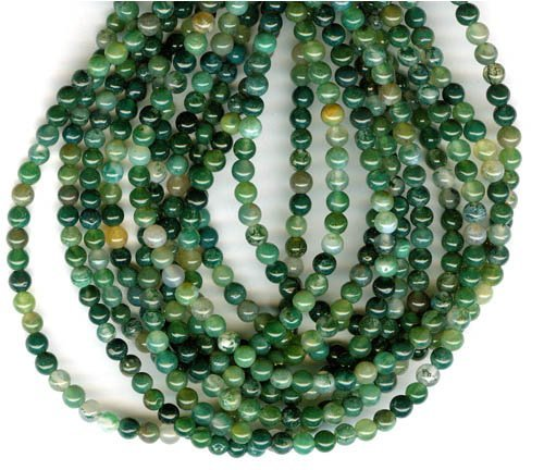 Shopping_Shop2000 Natural Round Genuine Moss Agate Stone A Grade Gemstone Loose Beads 1 Strand 15.5