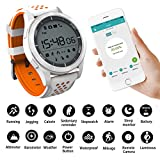 Smart Watches Sunsbell Bluetooth Smart Watch for Android/Iphone, Waterproof Fitness Tracker Watch Camera Pedometer Anti-Lost Watch Altimeter Barometer (Orange & White)