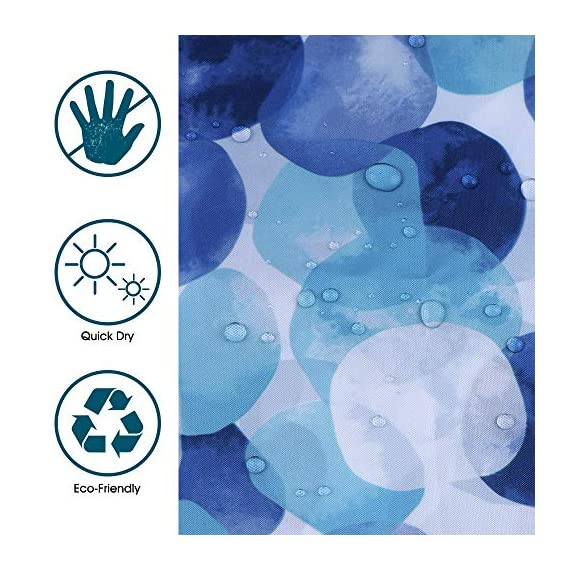 ARICHOMY Shower Curtain Set Bathroom Fabric Fall Curtains Waterproof Colorful Funny with Standard Size 72 by 72 (Blue) - Bathroom Curtain: Made from expertly chosen and thoroughly tested polyester fabric, which is made to withstand moisture-rich bathroom environments. Water repellent-water glides off and dries quickly. Water drops beads up just like a seed pearl in rolling on the lotus leaves. Keep your home clean and fresh. Featuring a perfectly weighted hem, reinforced top header and rust-resistant metal grommets. - shower-curtains, bathroom-linens, bathroom - 51QNdzQNspL. SS570  -