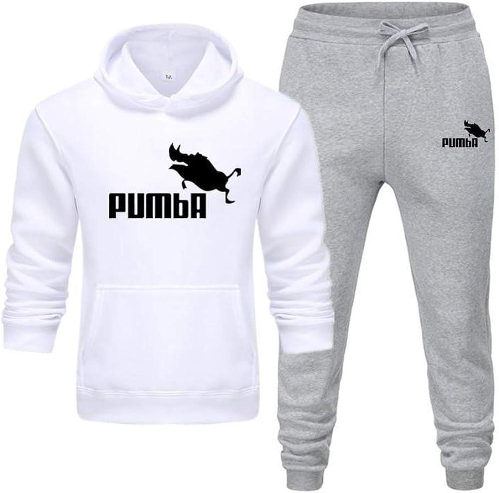 New Pumba Zweiteiliger Hoodie Batman Hooded Men Casual Baumwolle Herbst/Winter Warme Sweatshirts Herren Casual Trainingsanzug Kostüm S-XXXL B-pink Light Gray