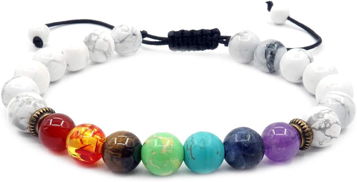 Mayting Pulsera Trenzada de Color Turquesa Blanco 7 Perlas de Piedras Preciosas de Energía de Curación Chakra Pulsera Brazalete para Hombres y Mujeres