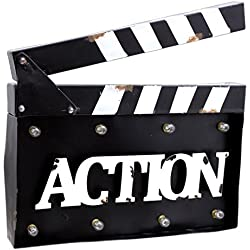 """MayRich 14"""" x 10.5"""" Movie Clapperboard """"Action"""" Sign with LED lights"""