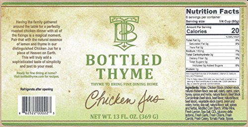 Bottled Thyme Chicken Jus - Lemon & White Wine Gourmet Finishing Sauce