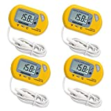 ILBUY LCD Digital Aquarium Thermometer Fish Tank Water Terrarium Temperature (4 Pack yellow)